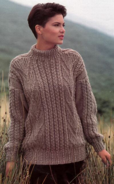 98e0f1685705 Knitting Pattern Womens Aran Rib Cable Long Jumper for sale online ...