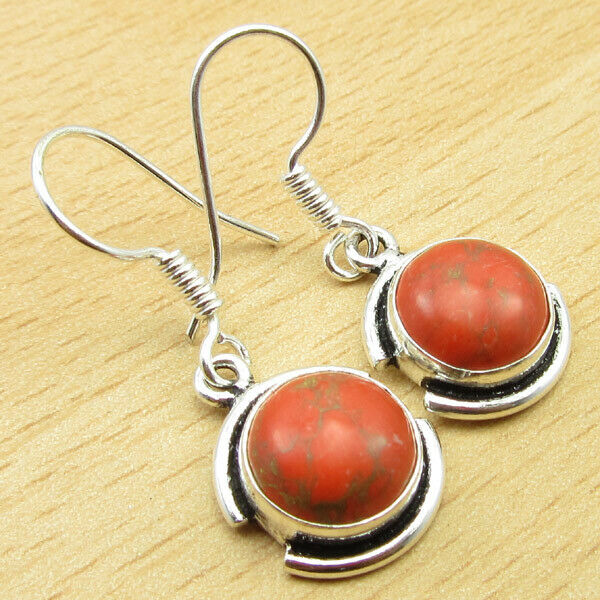925 Silver Plated Orange Copper Turquoise Earrings 3.3 cm Global Look Jewelry