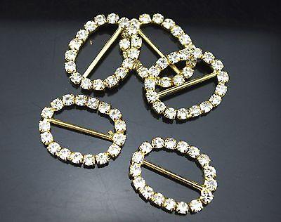 10pcs Clear Crystal Rhinestone Gold Oval Buckle Wedding Invitations Napkin Ring