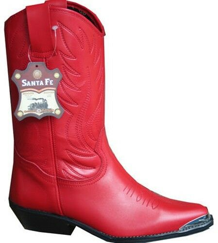 Ladies Red Cowboy Boots 100% Genuine Leather Western Line Dance Cowgirl / Womens