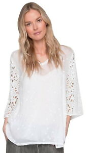 248-Johnny-Was-Asya-V-Neck-Top-Small-2-4-White-Floral-Stitchwork-Sheer-Sleeves