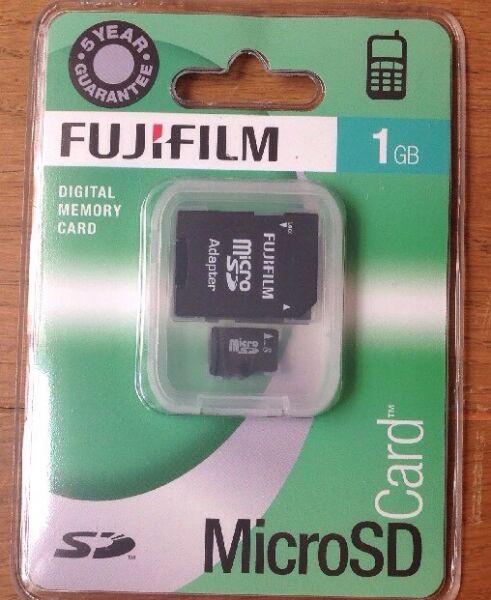 Discret Fujifilm Carte Mémoire Micro Sd 1 Go + Adaptateur Sd Pleine Taille Neuf