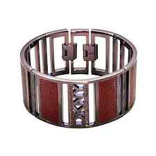 New Genuine DKNY Brown Stainless Steel And Leather Bracelet NJ1214 £125.00