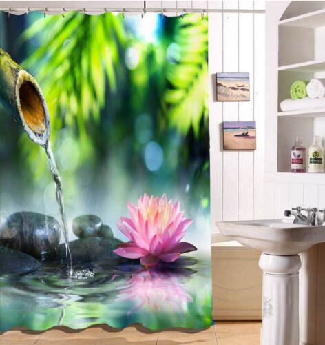 Bamboo Tube Waterproof Bathroom Polyester Shower Curtain Liner Water Resistant