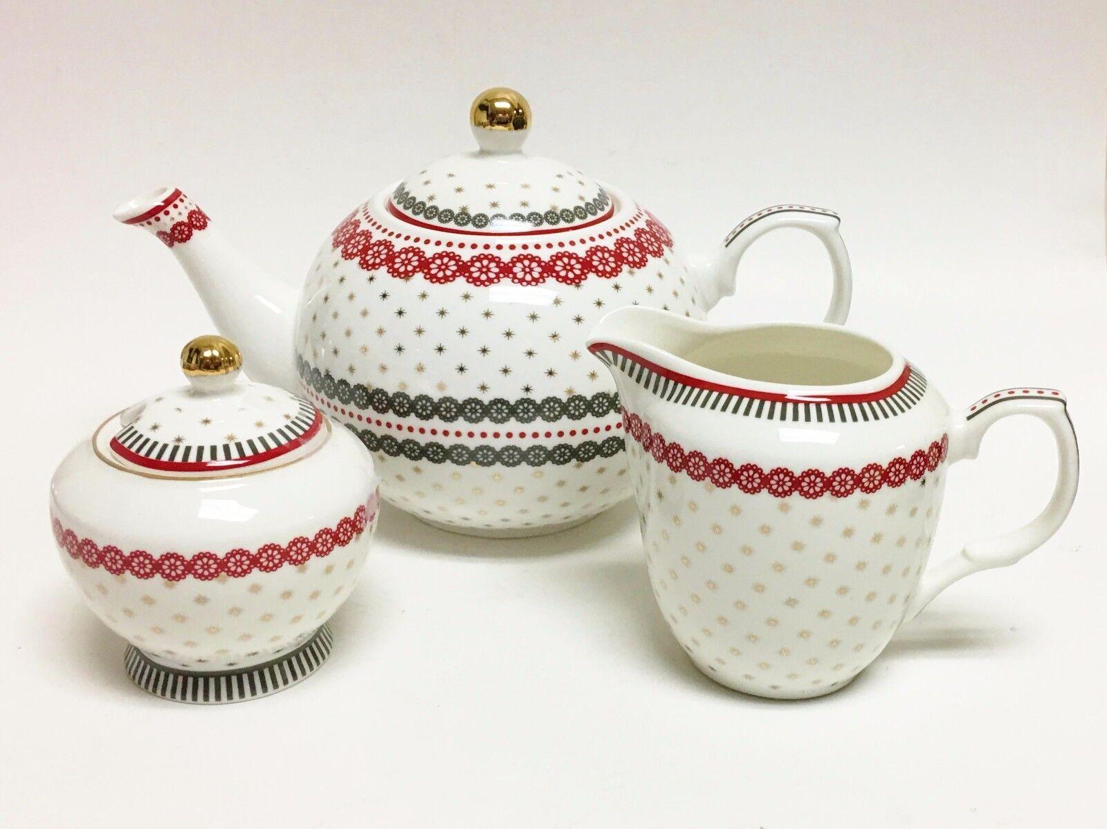 Nuovo 3 Pz Grace Bianco + Rosso + Grigio + oro Porcellana Tè + Caffettiera,