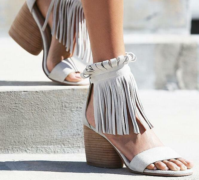 Vogue sexy ladies sandals tassel ankle peep toe chunky heel Roma Casual shoes Sz