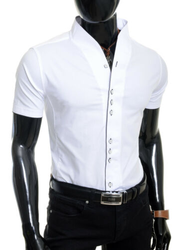 Homme Chemise à manches courtes Design Superbe Coton Bande Col Slim Square Boutons