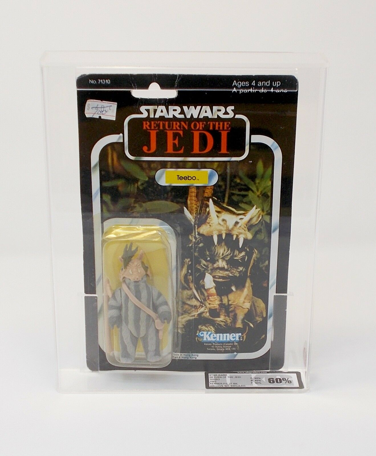 Vintage Star Wars Teebo UKG 60 Canadian Card Rare ROTJ Sealed in protective case