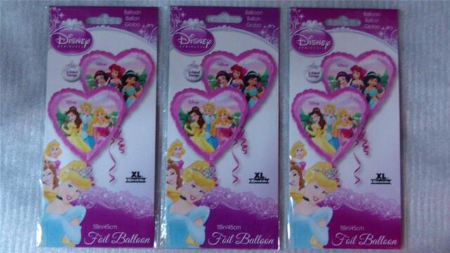 "Disney Princess 18"" Mylar Heart Shape Party Balloon (Lot of 3) 2-Sided Design"