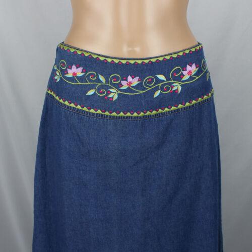 Willow Ridge Denim Jean Modesty Skirt Sz 8 Floral