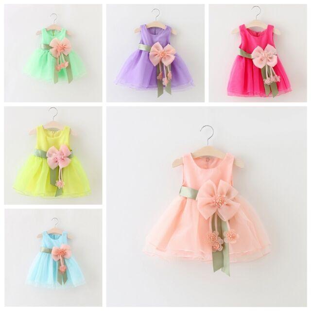 NEW Toddler Baby Girls Summer Dress Kids Princess Party Wedding bowknot Dresses