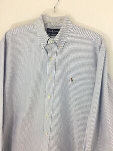 Ralph-Lauren-16-35-Mens-Blue-amp-White-Stripe-Button-Down-Oxford-Shirt