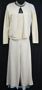 Rll Ralph Lauren Cream Pant 6 Suit Outfit 3pc Sweater Set Cashmere