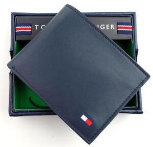 GENUINE-TOMMY-HILFIGER-MEN-039-S-PREMIUM-LEATHER-CREDIT-CARD-ID-WALLET-BILLFOLD-NAVY