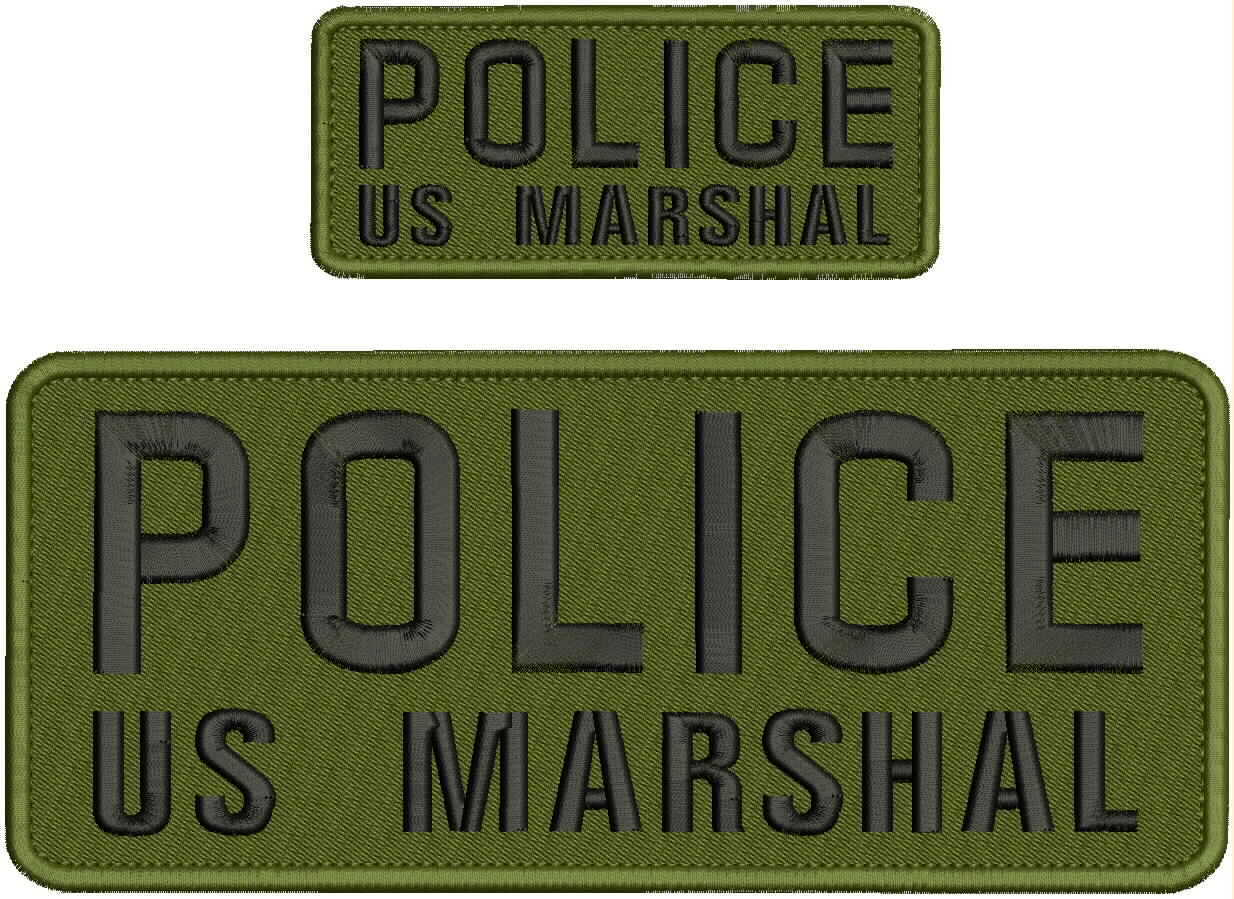 US MARSHA POLICE  EMBROIDERY PATCH 4X9.5 /& 2X5 HOOK ON BACK OD GREEN//BLK