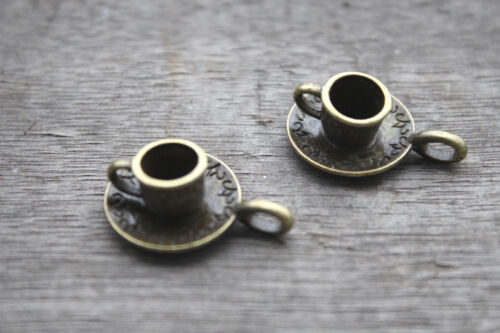 10pcs Cup and Saucer Charms Bronze tone Lovely Coffee Cup Charm Pendant 9x18mm