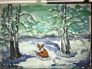 ORIGINAL-Malerei-PAINTING-zeichnung-drawing-psy-contemporary-ART-fuchs-fox-A4-1