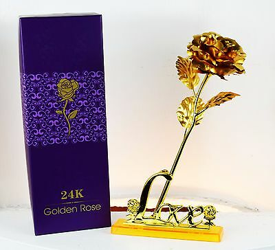 Birthday Gift 24K Gold Plated Rose Flower /& Love Stand for Mom Mum Grandma