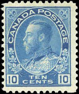 Mint-H-Canada-10c-1911-25-F-Scott-117-King-George-V-Admiral-Issue-Stamp