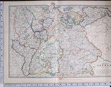 1904 LARGE MAP EMPIRE OF GERMANY WURTEMBERG LEIPZIG WEIMAR RHENISH PRUSSIA
