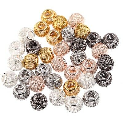 50PCS Mesh Spacer Alloy Slider Large Hole Beads Fit European DIY Bracelet