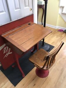 Antique Vintage Kenney Bros Inc Boston Mass School Desk Chair