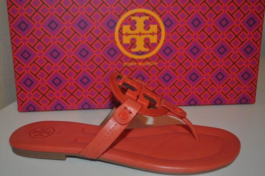NIB  225+ Tory Burch Miller 2 Sandal Thong Flat shoes Dark Poppy Red Leather 5.5