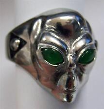 ALIEN HEAD GREEN EYES STAINLESS STEEL RING size 11 silver metal S-504 unisex UFO