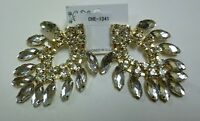 Large Gold Earrings With Clear Stones