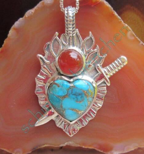 Herz von Schwert durchbohrt Türkis blau Karneol Anhänger Sterling Silber 925