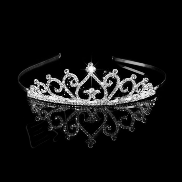 Bridal Wedding Rhinestone Princess Crystal Tiara Prom Hair Crown Veil Headband