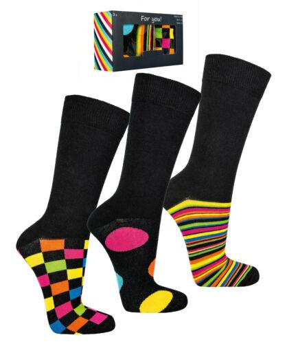 """ch-6202 3er-box SCATOLA regalo calzini calze da uomo 40-47 /""""COLORATA business/"""""""
