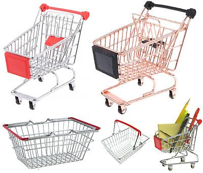 Kids Pretend Role Play Mini Metal Trolley Shopping Handcart Supermarket Basket /&