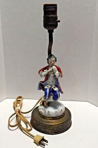 Antique-Brass-Porcelain-Figurine-Lamp-Musical-Man-Art-Nouveau-Table-Lamp