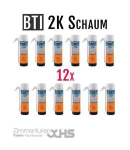 12x-BTI-2K-PU-Schaum-Fast-Montageschaum-Zargenschaum-400ml-Drehfluegel-Schnell