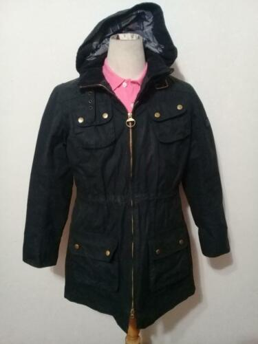 Womens BARBOUR International Hooded Parka WAXED Jacket Black Size UK 12 USA 8