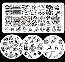 4pcs Christmas Nail Art Stamp Plates Template DIY Snowflake Snowman BORN PRETTY
