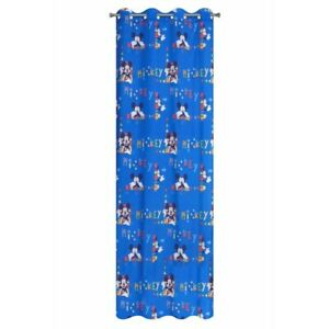 Details zu Vorhang Kinderzimmer 140x250 Ösenvorhang Ösen blau Jungen  Gardinen Mickey Maus