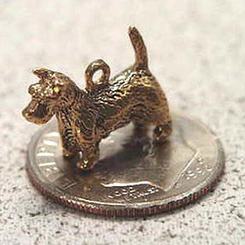 14k gold vintage SCOTTISH TERRIER DOG charm SCOTTY