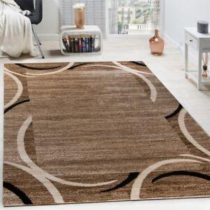 Wohnzimmer-Teppich-Borduere-Kurzflor-Meliert-Modern-Hochwertig-Schwarz-Braun