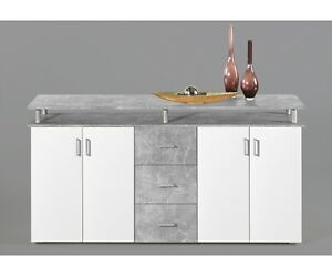 kommode sideboard beistellkommodelift beton grau wei ca 180 cm breit ebay. Black Bedroom Furniture Sets. Home Design Ideas