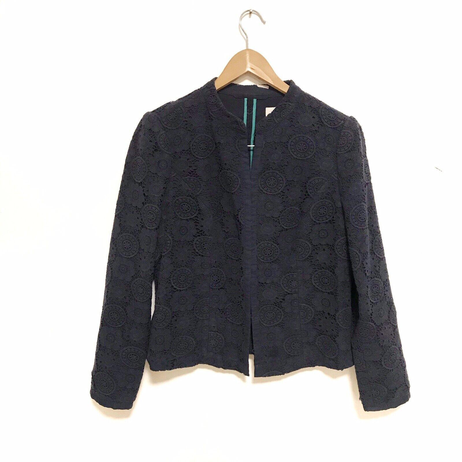 Boden eyelet lace crochet navy Blue heavy blazer Size 12