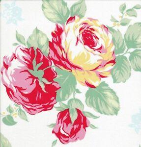 Cottage-Shabby-Chic-Lecien-Flower-Sugar-Large-Floral-Bouquet-30967L-10-White-BTY