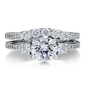 1.50 Ct Round Moissanite Engagement Band Set Solid 18K White Gold Rings Size 8 9