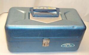 Vintage Old Pal Metal Blue Fishing Tackle Box