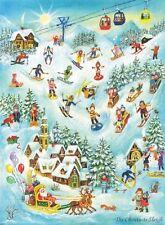 Richard Sellmer Verlag - Traditional German Paper Advent Calendar - Skiing