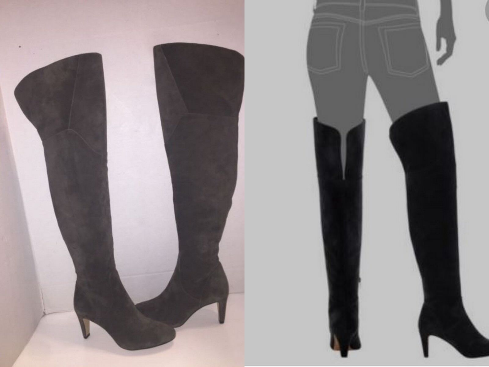 Vince Camuto Armaceli Tornado Grey Over The Knee OTK Suede Boots 7