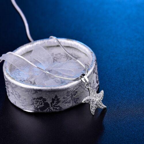 Brillant Blanc Zircon Cristal étoile de mer étoile Pendentif Gold Filled Collier
