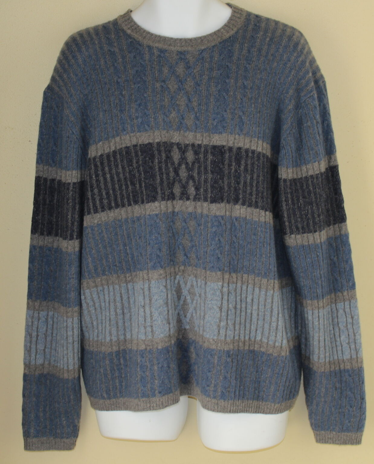 Roundtree & York Indigo Blau Cable Textural Art Knit Lambswool Crew Sweater Sz L