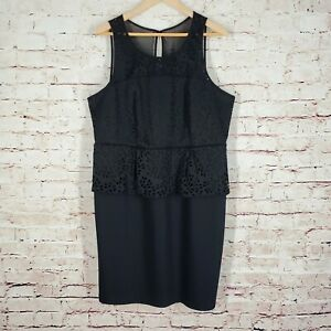 Details about Lane Bryant Womens Dress Plus Size 16 Black Peplum Eyelet  Sleeveless Sheer